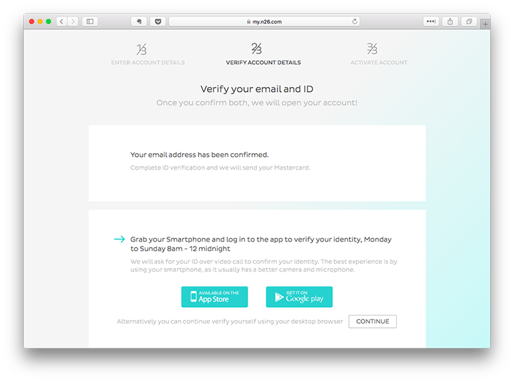 N26 Bank account opening process—IDnow start