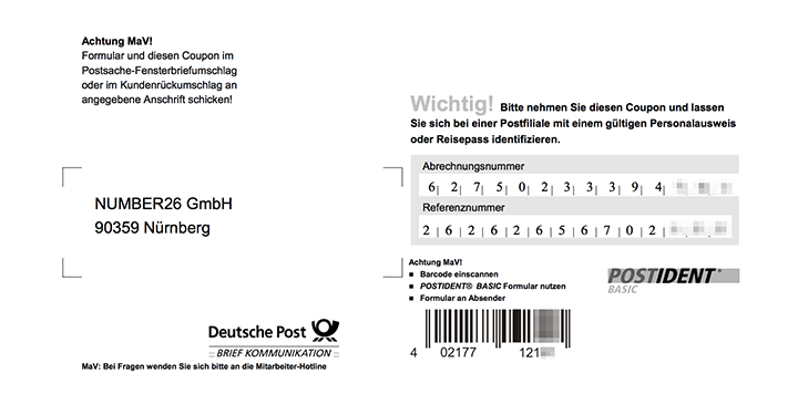 N26 Bank Account Opening Processu2014PostIdent Coupon