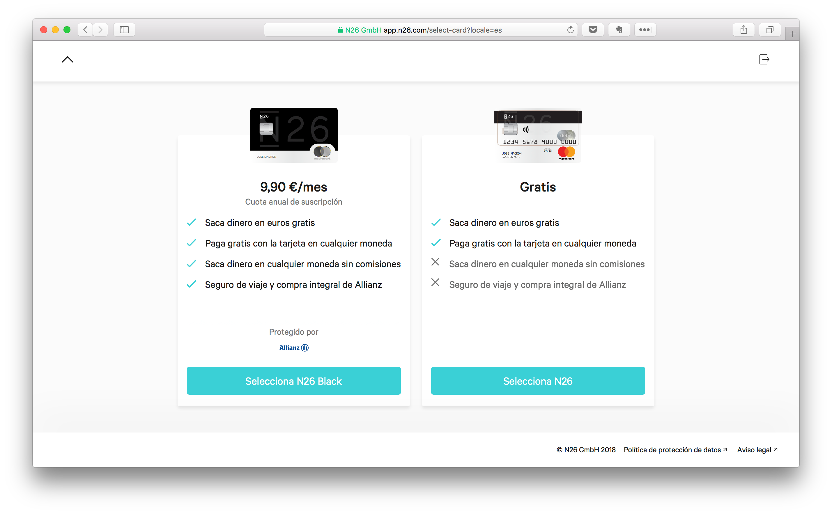 select n26 account plan black metal