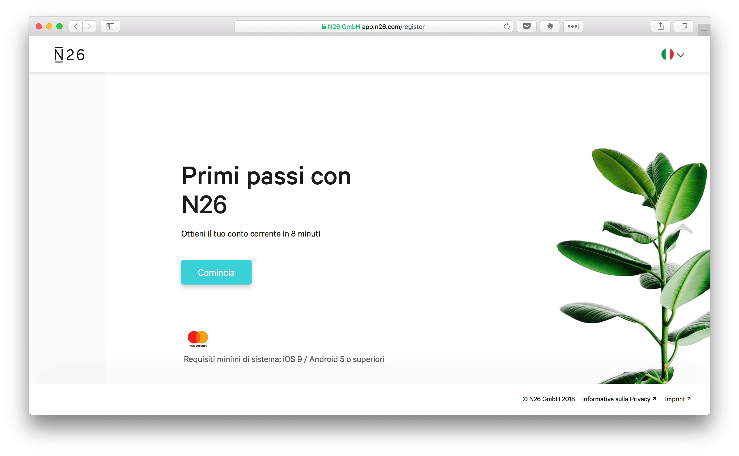 start the N26 registration process